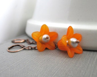 Flower Earrings, Orange Flowers, Copper Earrings, Grey Pearls, Lucite Flowers, Trumpet Flower, Orange Blossoms