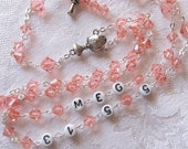 First Communion Personalized Rosary with Swarovski Crystals and Pewter