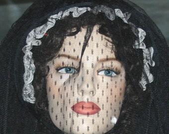"Victorian Civil War Bonnet Steampunk Hat, Gothic Hat, Funeral Hat ""The Ghost of Mary Surratt"""