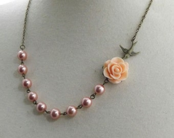 Rose Peach Flower and Brass Swallow Necklace