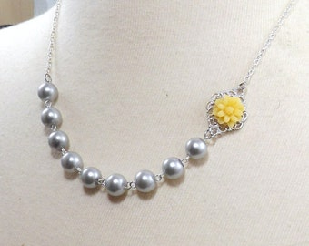 Yellow Gray and Silver Flower Bridesmaids Wedding Necklace