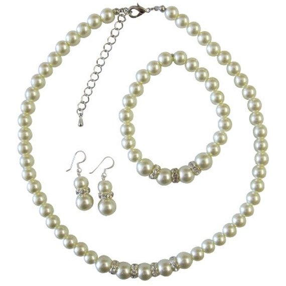 Bridal Bridemaids Wedding Ivory Pearls w/ Silver Diamante Jewelry Set Free Shipping In USA
