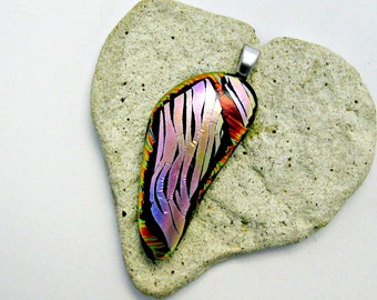 Fused Dichroic Glass - Stripes Pendant