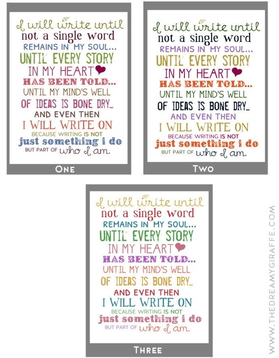 I Will Write Typography Print Motivational by thedreamygiraffe