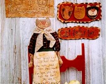 Primitive Cat Doll Stitchery Sampler Wood Sign Pattern EPattern PDF  Folkart Folk Art  by Hickety Pickety 065