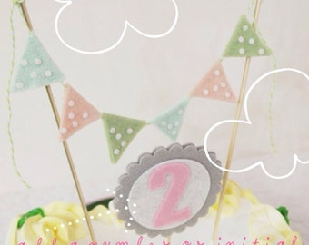 Birthday Cake Bunting  with Cake Topper