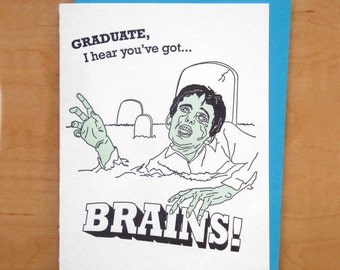 Brains - Zombie - Letterpress Graduation Card