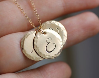 Mother's Necklace, Mom Necklace, Custom Initials Necklace, 1, 2, 3, 4 Letters, Grandma Gift, Large Font, Cursive Script, Personalized Gift