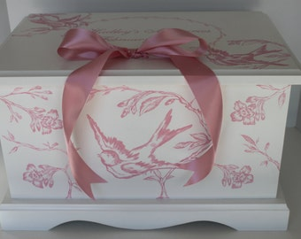Baby Keepsake Chest Memory Box personalized - Pink Toile baby gift hand painted