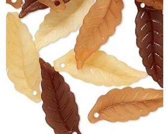 Gorgeous Frosted Acrylic Lightweight Leaves Orange, Brown, Lt Brown 26x10mm 40 pcs