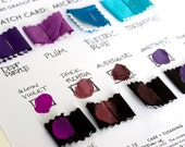 8 printing ink and microfiber fabric necktie swatch samples. Color matching card for custom order ties. Choose from 56 tie fabric colors.