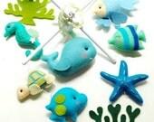 For Marlyse - Oceanography Under the Sea (Artist Choice Color) -  Custom Mobile for Crib Nursery Mobile, Modern Nautical Room decor