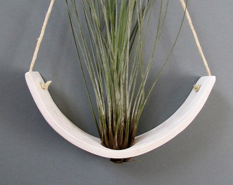 Hanging Air Plant Cradle (tm) - Natural White Earthenware Planter Vase