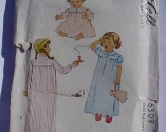 vintage McCalls Size 4 toddler nightgown PATTERN