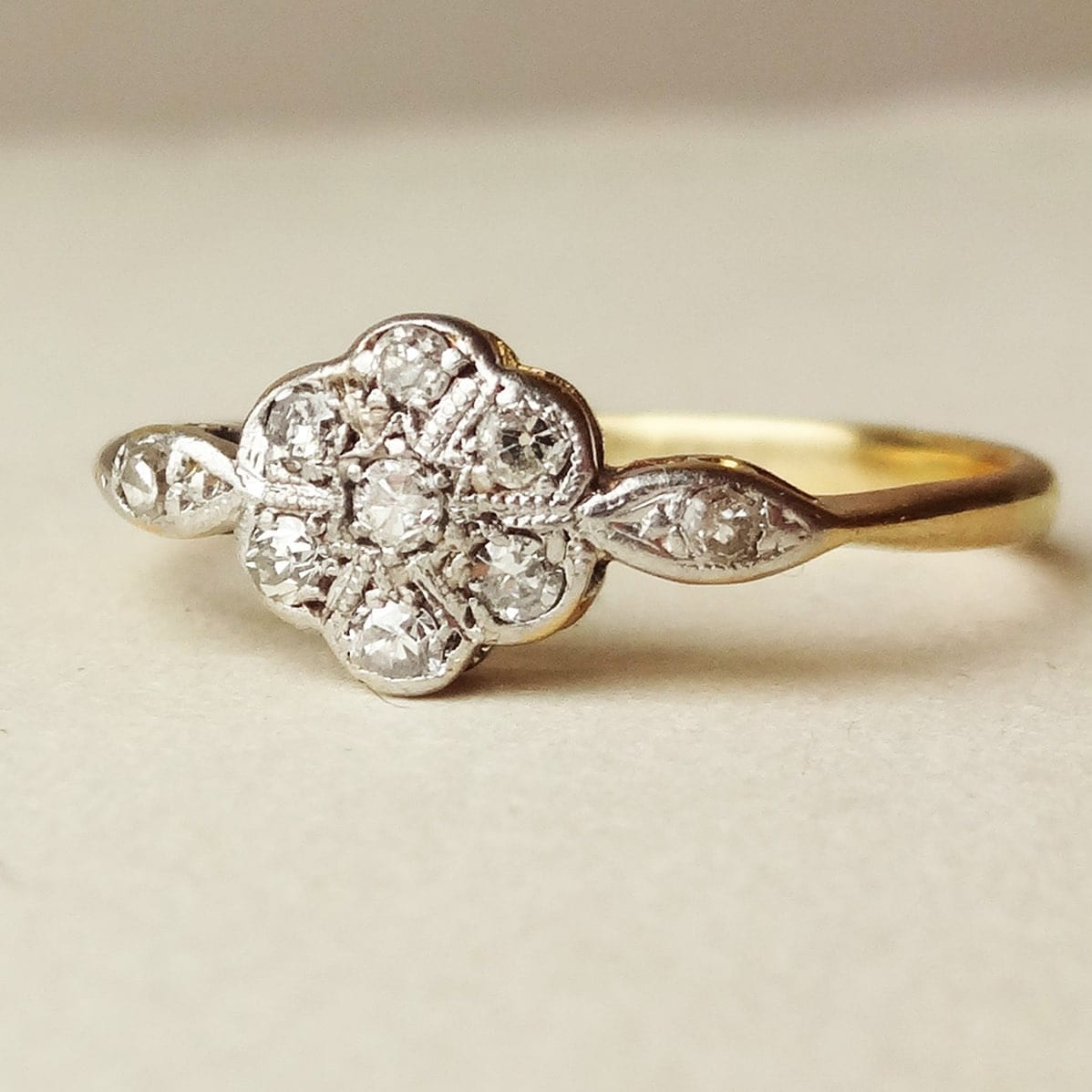Art Deco Diamond Flower Ring Antique Engagement Ring Diamond