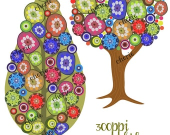 Instant Download, Whimsical Trees Clip Art, Commercial Use, Personal Use Graphics, Set of 2 Trees