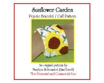 Peyote Bracelet Pattern ... SUNFLOWER GARDEN ... Bold . Flowers . Floral . Yellow . Green . Kansas State Flower . Summery . 3 for 2
