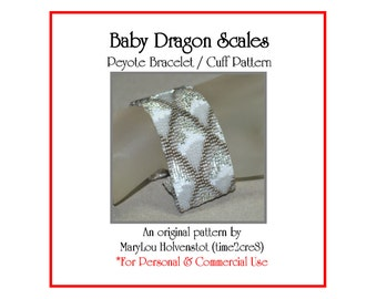 Peyote Bracelet Pattern ... BABY DRAGON SCALES ... Winter Ice . Mythical . Medieval . Fire . Fantasy . Renaissance . 3 for 2