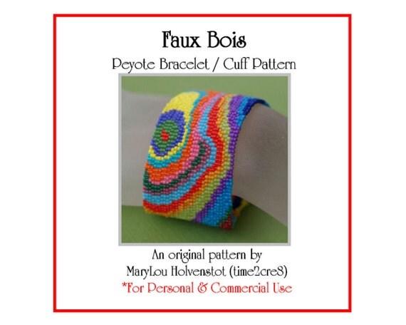 Peyote Bracelet Pattern ... FAUX BOIS ... Wood Grain . Colorful . Fake Wood . Psychedelic . Multicolor . Two Color . Bonus Pattern . 3 for 2