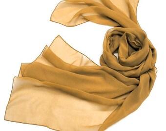 Rust Shawl Wrap, Burnt Orange Shawl, Muted Gold Brown, Warm Saffron Scarf, Silk Chiffon Stole, Unique Handmade, Hand Dyed Scarf, Jossiani..