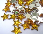 Acrylic Rhinestone Cabochon Beads, Faceted, Star, Yellow, 10mm, 50pcs