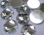 CLEARANCE -- Acrylic Rhinestone Cabochon Beads, Faceted, Circle, Clear, 20mm, 60pcs