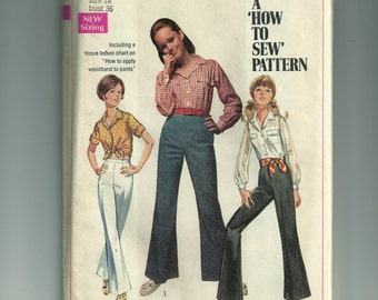 Simplicity Young Junior/Teens' and Misses' Shirt and Bell Bottom Pants Pattern 8009