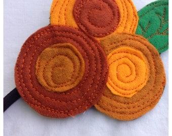 The Little Garden Bloom- Felt Headband-brooch--Orange Triple Bloom