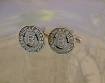 Zydeco - Vintage Authentic 1953 Baton Rouge Bus Company Tokens Recycled Cufflinks, Man Gift, Mens Gift, Groomsman Gift, Wedding Gift