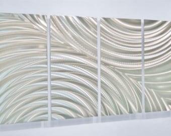 Silver Modern Metal Wall Sculpture - Contemporary Silver Metal Wall Art- Accent - Home Decor- Sculpture Art - Follow Through by Jon Allen