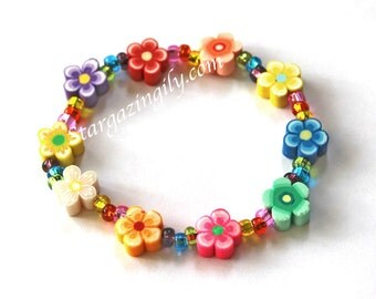 Spring Flower Luau Flower Lei Bracelets Children's Jewelry Baby Child Kid Toddler Garden Party Peace Love Hippy Flower Child