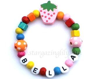 Little Girls Colorful Chunky Wood beaded bracelet with Strawberry