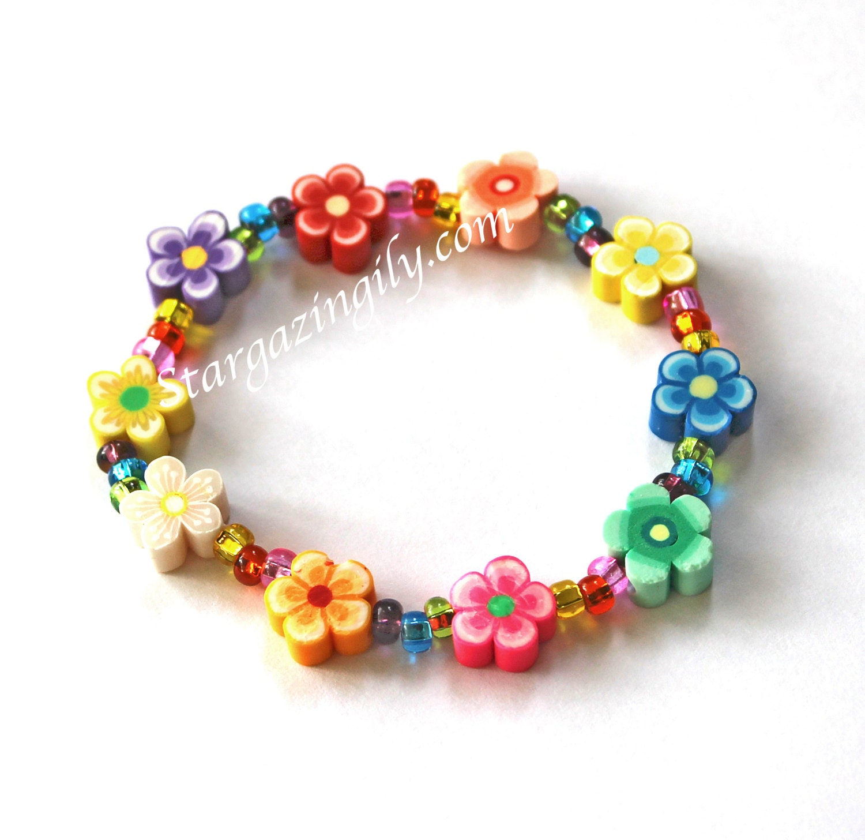 Childrens Charm Bracelet: Spring Flower Luau Flower Lei Bracelets Children's Jewelry