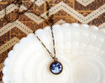 to the moon and back necklace- glass cabcochon on aged brass chain- celestial- planet- galaxy