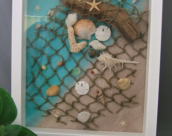 Sand Dollar, Starfish, Driftwood and Seashell Collection set on a Watercolor Background in a White Shadow Box Frame, Beach Themed Wall Art