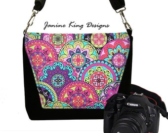 Boho Paisley Slr Camera Bag Pink Purple Cute Padded DSLR Camera Bag Purse Womens Messenger Bag  turquoise RTS