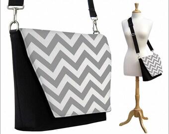 CLEARANCE Womens Messenger Bag, Chevron Crossbody Bag,  Ipad Purse, Ipad Case, Zipper Pocket,  Women's Travel Bag, Black White Gray RTS