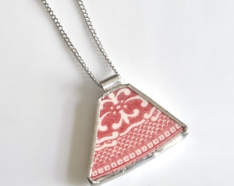 Recycled China Pendant on Chain - Red Willow
