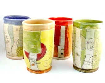 Ceramic Tumblers or Art Vases, Set of Four Rainbow Colors, Ceramic Pencil Holders, Toothbrush Holders, Utensil Holders, Ceramic Vessels
