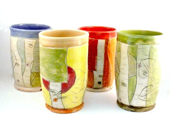 Ceramic Tumblers Set of Four / Ceramic Wine Cups - Pencil Holders - Toothbrush Holders - Vases - Utensil Holders - Ceramic Vessels