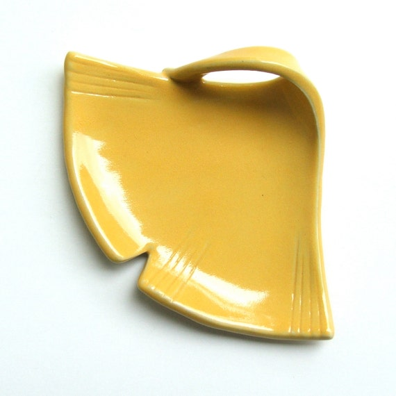 Hand Built Pretty Little Ceramic Plate, Ginkgo