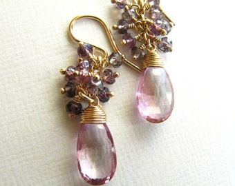 Cluster Wire Wrapped Earrings Pink Topaz Sapphire