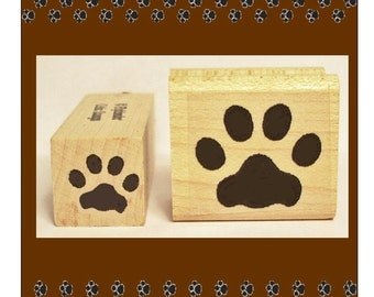 Cat Pawprint Rubber Stamp Set Two Sizes