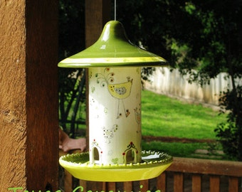 Ceramic All Season Hanging Bird Seed Feeder for Back Yard or Porch Patio Chic Bird Design in Yellow and Green Made in the Texas Hill Country