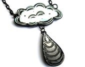 White Cloud with Gray Gradient  Raindrop Necklace