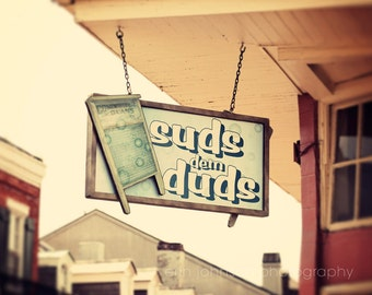 new orleans photography laundry room art bathroom decor sign photography french quarter Suds dem Duds