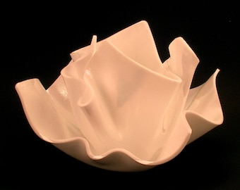 Vase Candle Set - White Opal Iridized Vase and Dish with Free Spring Rain Soy, Paraffin Wax Blend, Paper Core, Self-trimming Wick Candle