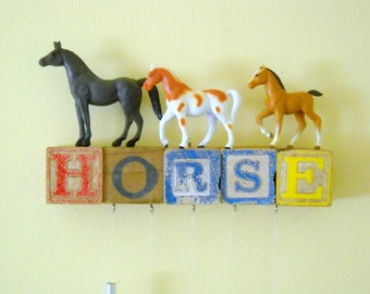 Horse Wind Chimes Three Horses on Vintage Wooden Alphabet Blocks with Windchimes Recycled