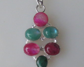 Ruby Moonstone, Green Moonstone, Quartz, Natural Pink Druzy, Silver Pendant, 24x52mm
