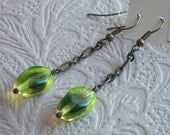 Vintage Glass and Antiqued Brass Earrings, Chartreuse and Eggplant